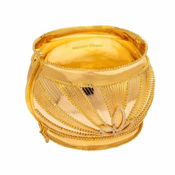 Mücevher Dünyası - 22 Ayar Mega Taşlı Özel Tasarım Altın Kelepçe - 75,40 Gr.