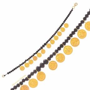 Mücevher Dünyası - 22 Ayar Mini Reşat Liralı Siyah Taşlı Altın Bileklik - 3.00 Gr.