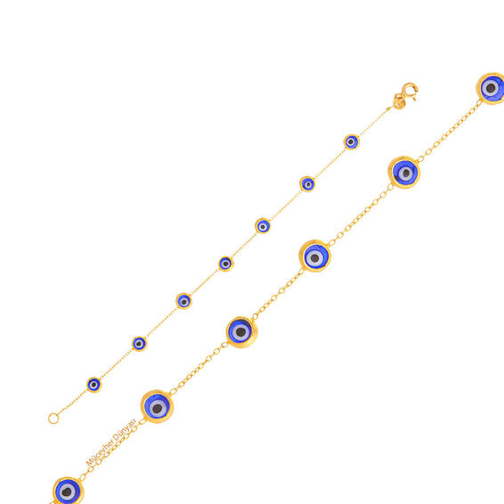 Mücevher Dünyası - 22 Ayar Nazar Boncuklu Çocuk Altın Bileklik - 2,02 Gr.