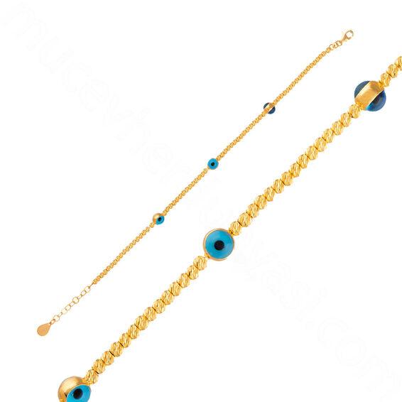 Mücevher Dünyası - 22 Ayar Nazar Boncuklu Dorika Altın Bleklik - 5,77 Gr.