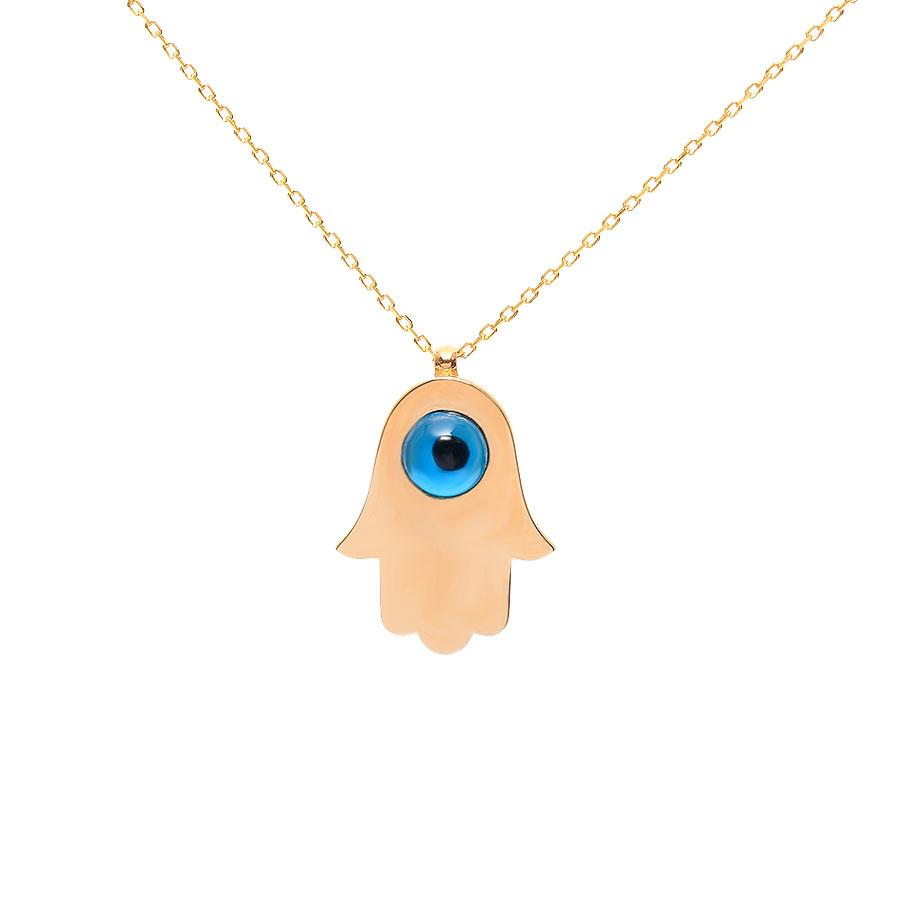 Mücevher Dünyası - 22 Ayar Taşlı Nazar Boncuklu Fatma Ananın Eli Altın Kolye - 3,39 Gr.