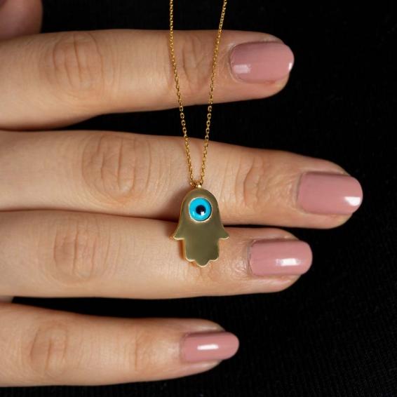 Mücevher Dünyası - 22 Ayar Nazar Boncuklu Fatma Ananın Eli Altın Kolye - 3,39 Gr.