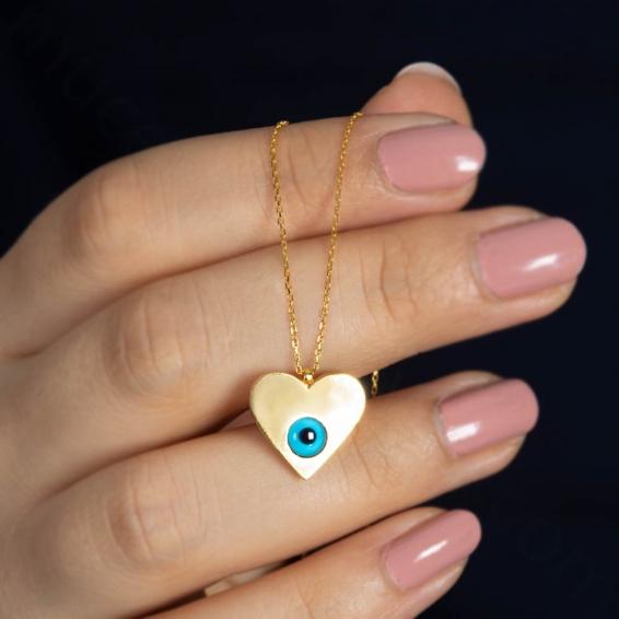Mücevher Dünyası - 22 Ayar Taşlı Nazar Boncuklu Kalp Altın Kolye - 3,40 Gr.