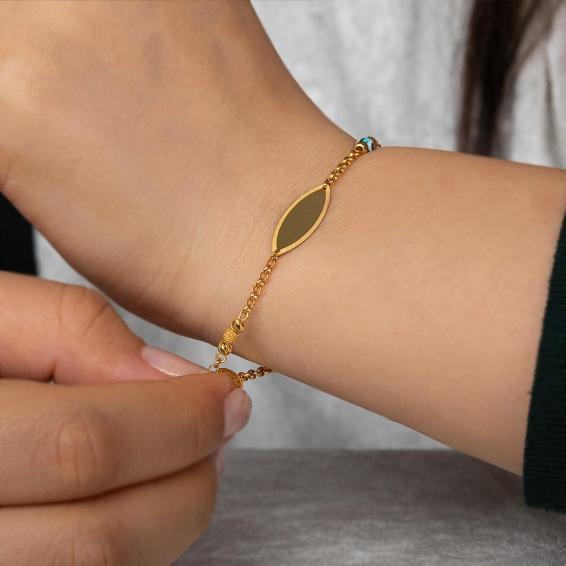 Mücevher Dünyası - 22 Ayar Nazar Boncuklu Künye Altın Bileklik - 4,32 Gr. - 18,5 Cm.