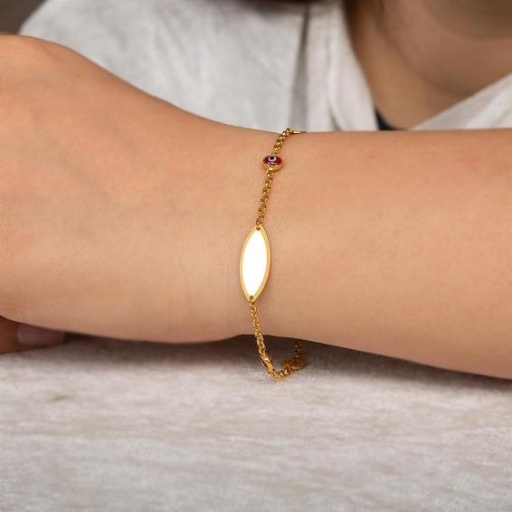 Mücevher Dünyası - 22 Ayar Nazar Boncuklu Künye Altın Bileklik - 4,32 Gr. - 19 Cm.