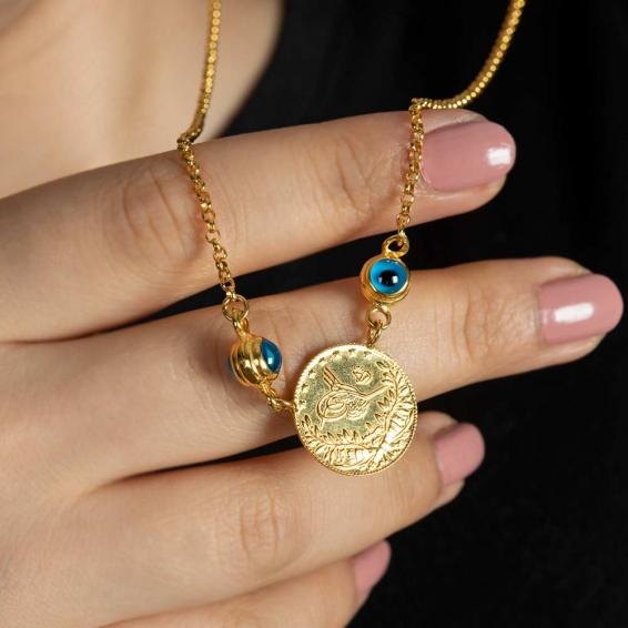 Mücevher Dünyası - 22 Ayar Nazar Boncuklu Reşat Kolye - 10,22 Gr.