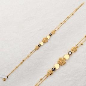Mücevher Dünyası - 22 Ayar Nazarlı Kalpli Çiçek Dorika Altın Bileklik | Mücevher Dünyası
