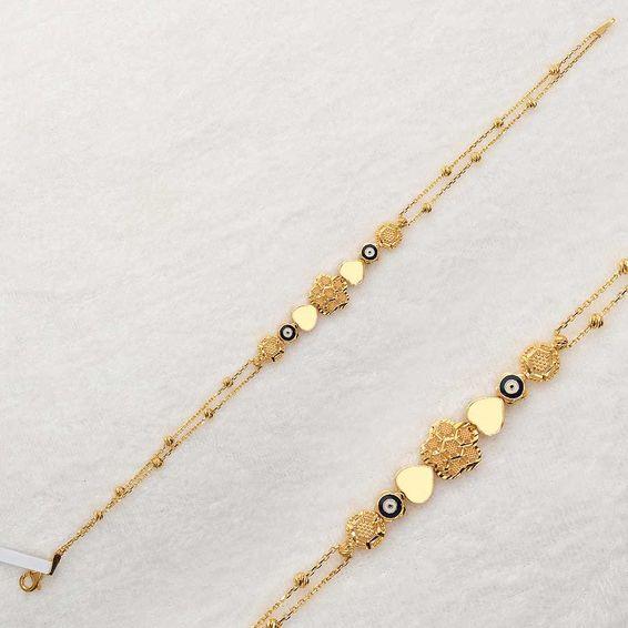 Mücevher Dünyası - 22 Ayar Nazarlı Kalpli Çiçek Dorika Altın Bileklik - 5,00 Gr.
