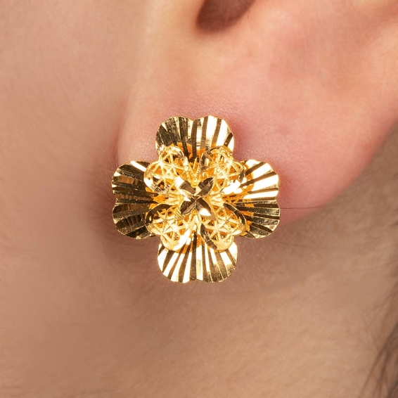 Mücevher Dünyası - 22 Ayar Nilüfer Altın Küpe - 3,97 Gr.