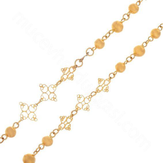 Mücevher Dünyası - 22 Ayar Nohutlu Desenli Altın Zincir - 116 Cm - 49,83 Gr.