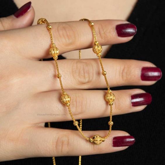 Mücevher Dünyası - 22 Ayar Nohutlu Dorika Altın Kolye - 12,27 Gr.