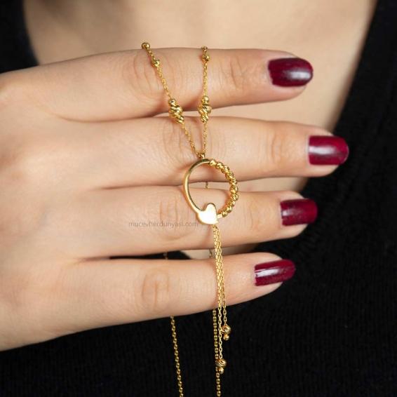 Mücevher Dünyası - 22 Ayar Nohutlu Dorika Altın Kolye - 5,5 Gr.