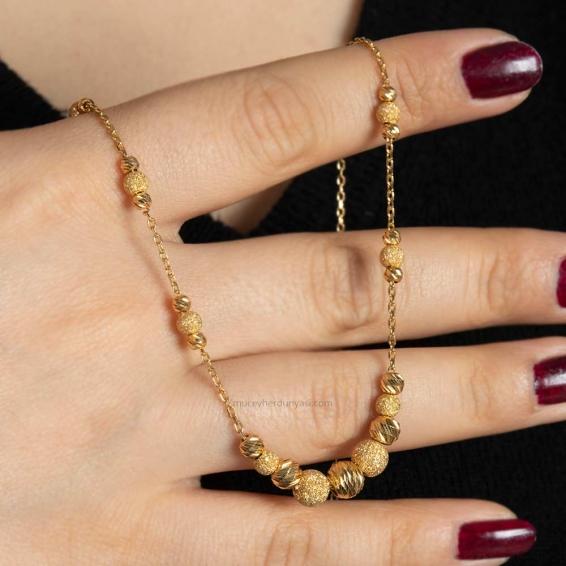 Mücevher Dünyası - 22 Ayar Nohutlu Dorika Altın Kolye - 8,34 Gr.