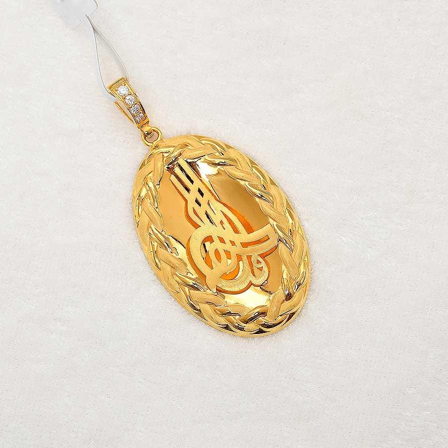 Mücevher Dünyası - 22 Ayar Osmanlı Tuğrası Kolye Ucu - Altın Madalyon - 5.68 Gr.