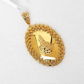 Mücevher Dünyası - 22 Ayar Osmanlı Tuğrası Kolye Ucu - Altın Madalyon | Mücevher Dünyası
