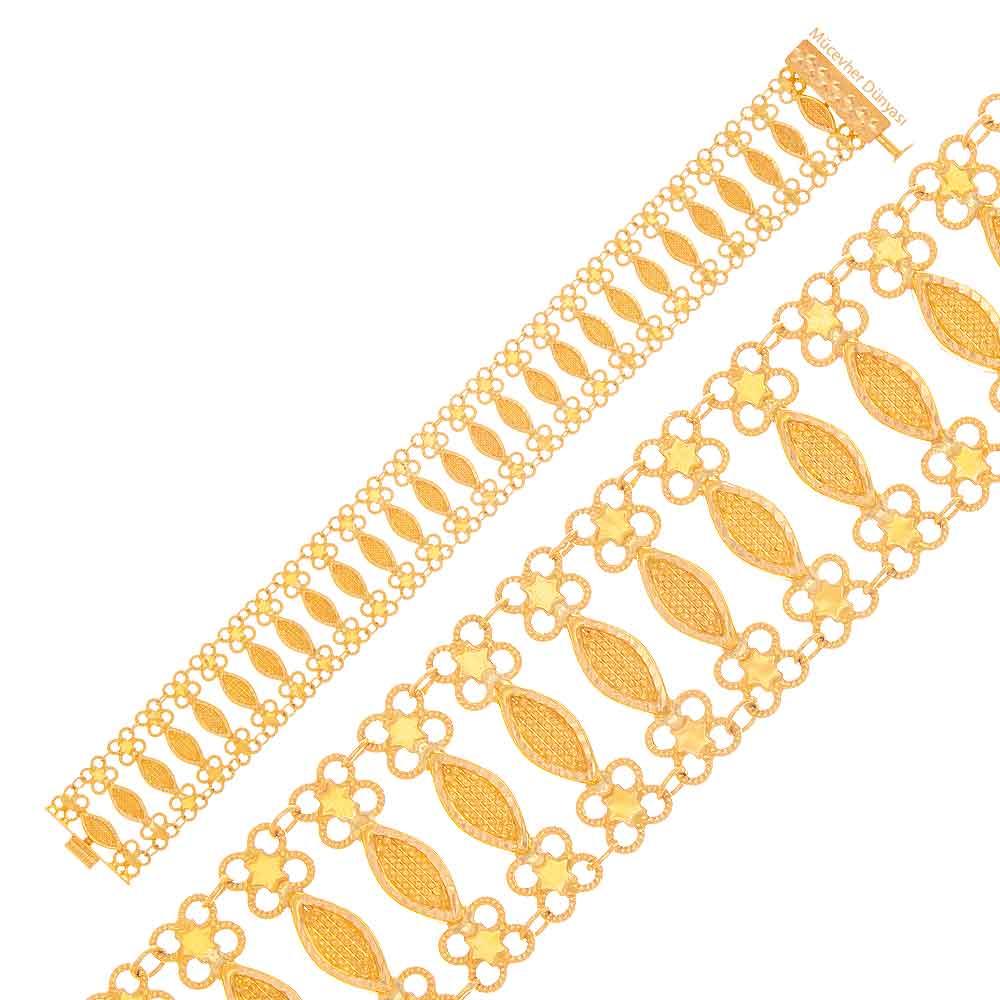 Mücevher Dünyası - 22 Ayar Özel Tasarım Altın Bileklik - 15,95 Gr.