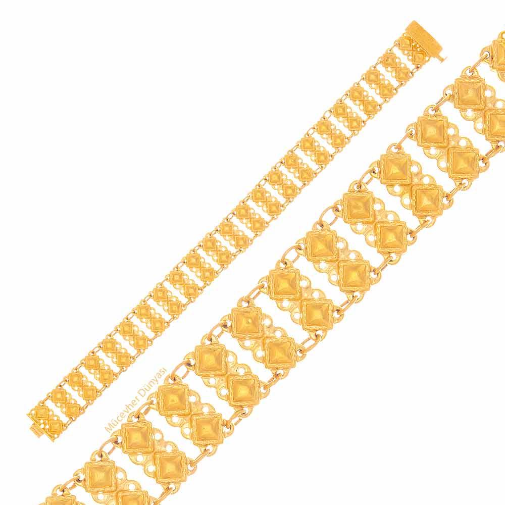 Mücevher Dünyası - 22 Ayar Özel Tasarım Altın Bileklik - 17.05 Gr.