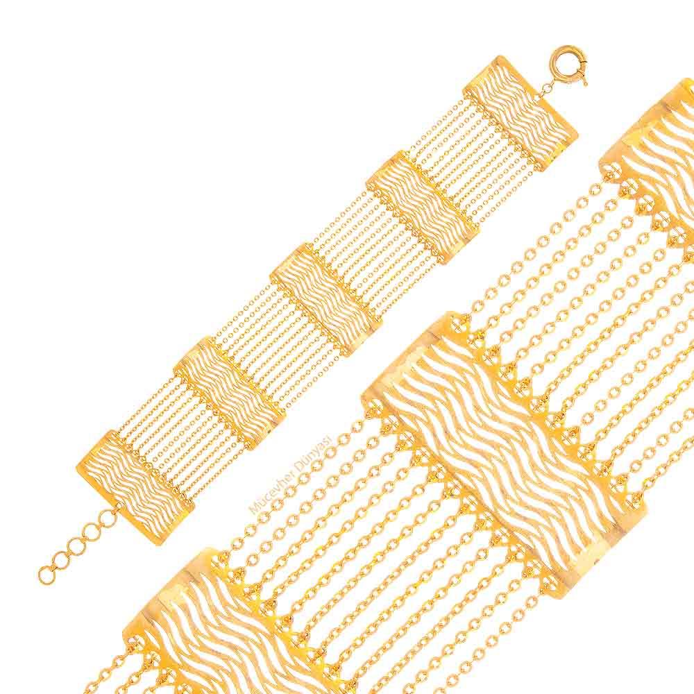 Mücevher Dünyası - 22 Ayar Özel Tasarım Altın Bileklik - 17,73 Gr.