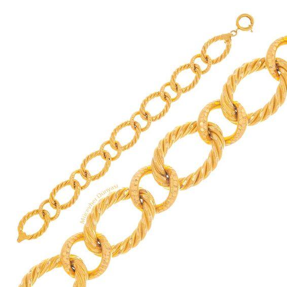 Mücevher Dünyası - 22 Ayar Özel Tasarım Altın Bileklik - 19,31 Gr.