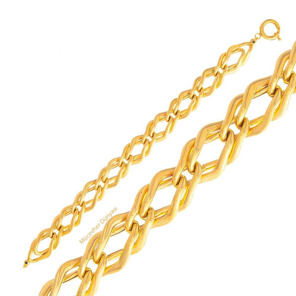 Mücevher Dünyası - 22 Ayar Özel Tasarım Altın Bileklik - 19,58 Gr.