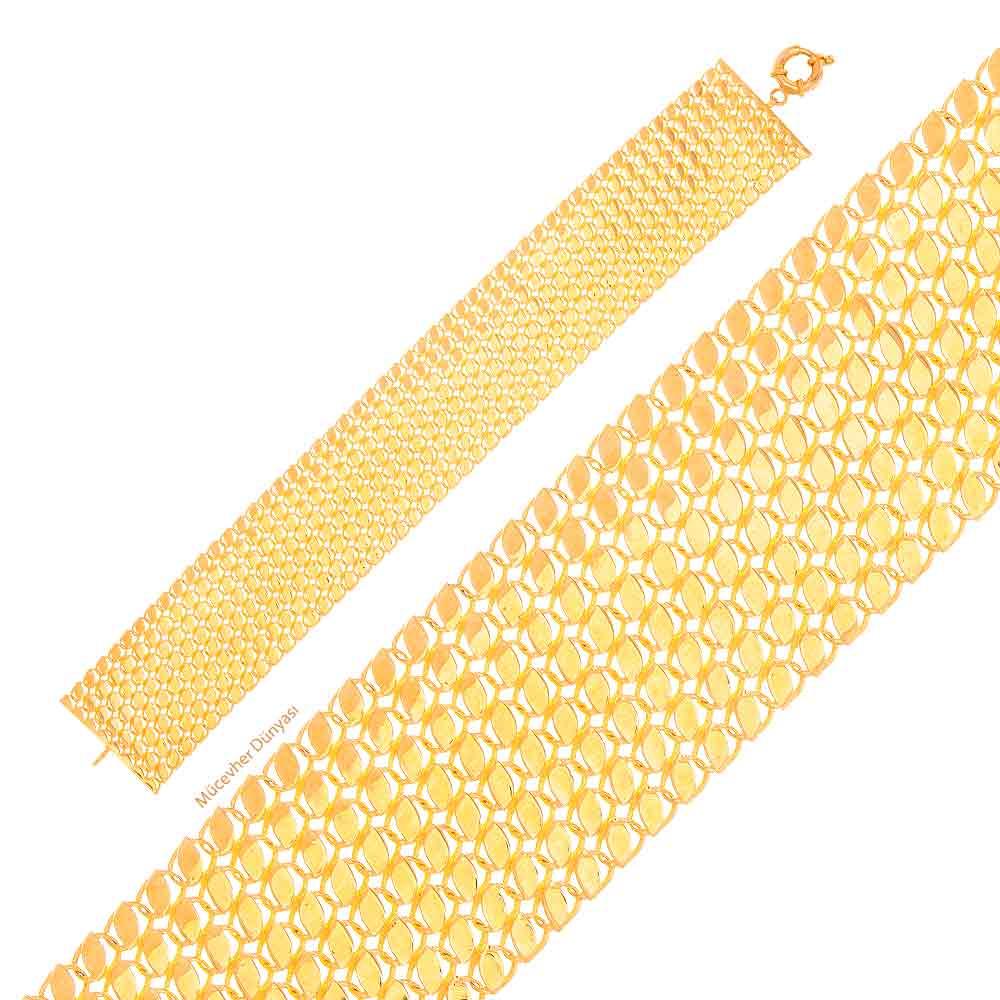 Mücevher Dünyası - 22 Ayar Özel Tasarım Altın Bileklik - 26,41 Gr.