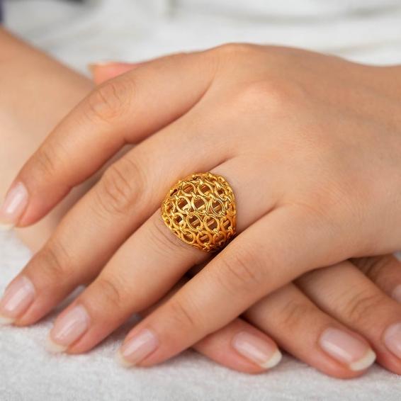 Mücevher Dünyası - 22 Ayar Özel Tasarım Altın Fantezi Yüzük - 8,91 Gr. - 15