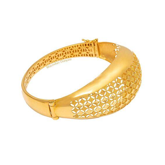 Mücevher Dünyası - 22 Ayar Özel Tasarım Altın Kelepçe - 27,23 Gr.