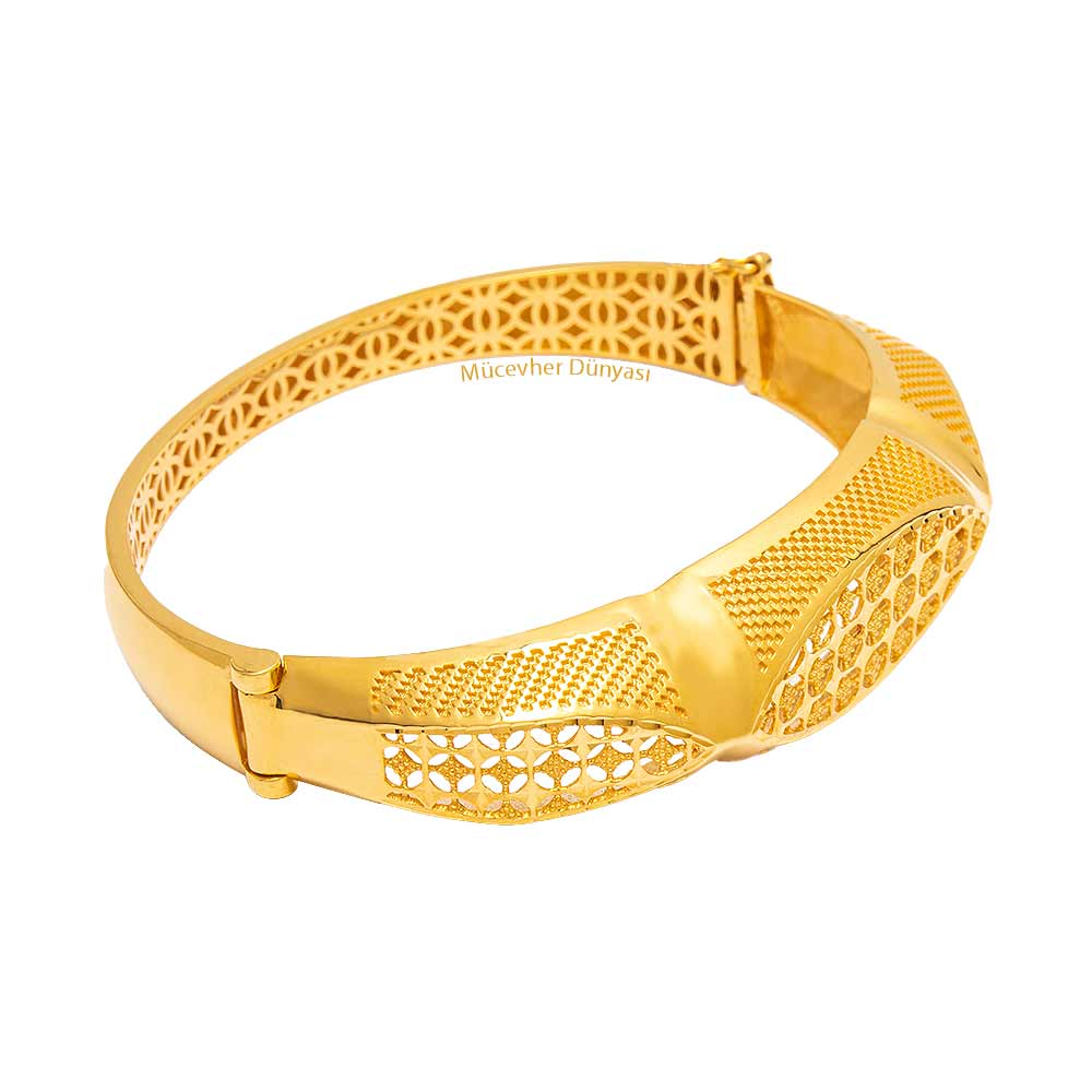 Mücevher Dünyası - 22 Ayar Özel Tasarım Altın Kelepçe - 29.34 Gr.