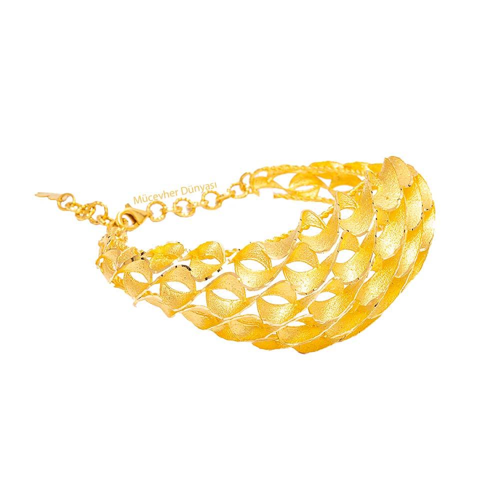 Mücevher Dünyası - 22 Ayar Özel Tasarım Altın Kelepçe - 29,64 Gr.