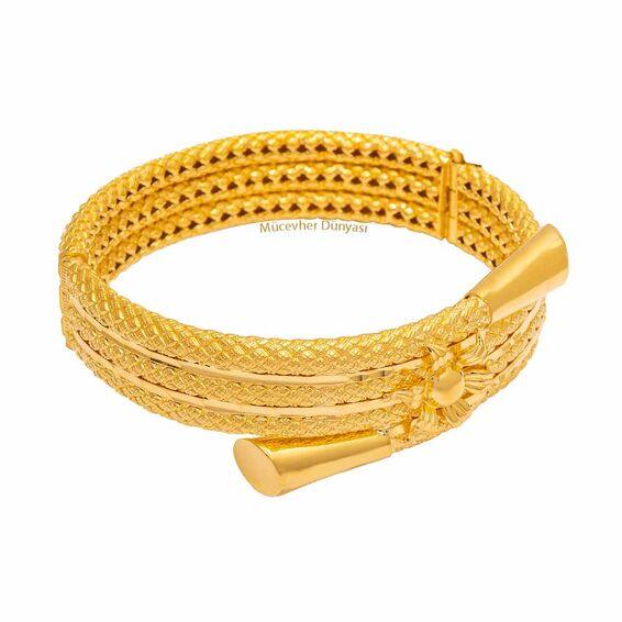 Mücevher Dünyası - 22 Ayar Özel Tasarım Altın Kelepçe - 36,46 Gr.