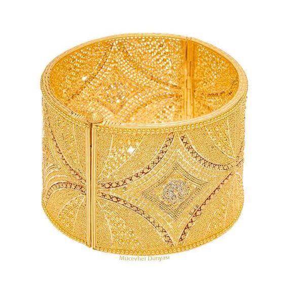 Mücevher Dünyası - 22 Ayar Özel Tasarım Mega Altın Kelepçe - 81,42 Gr.