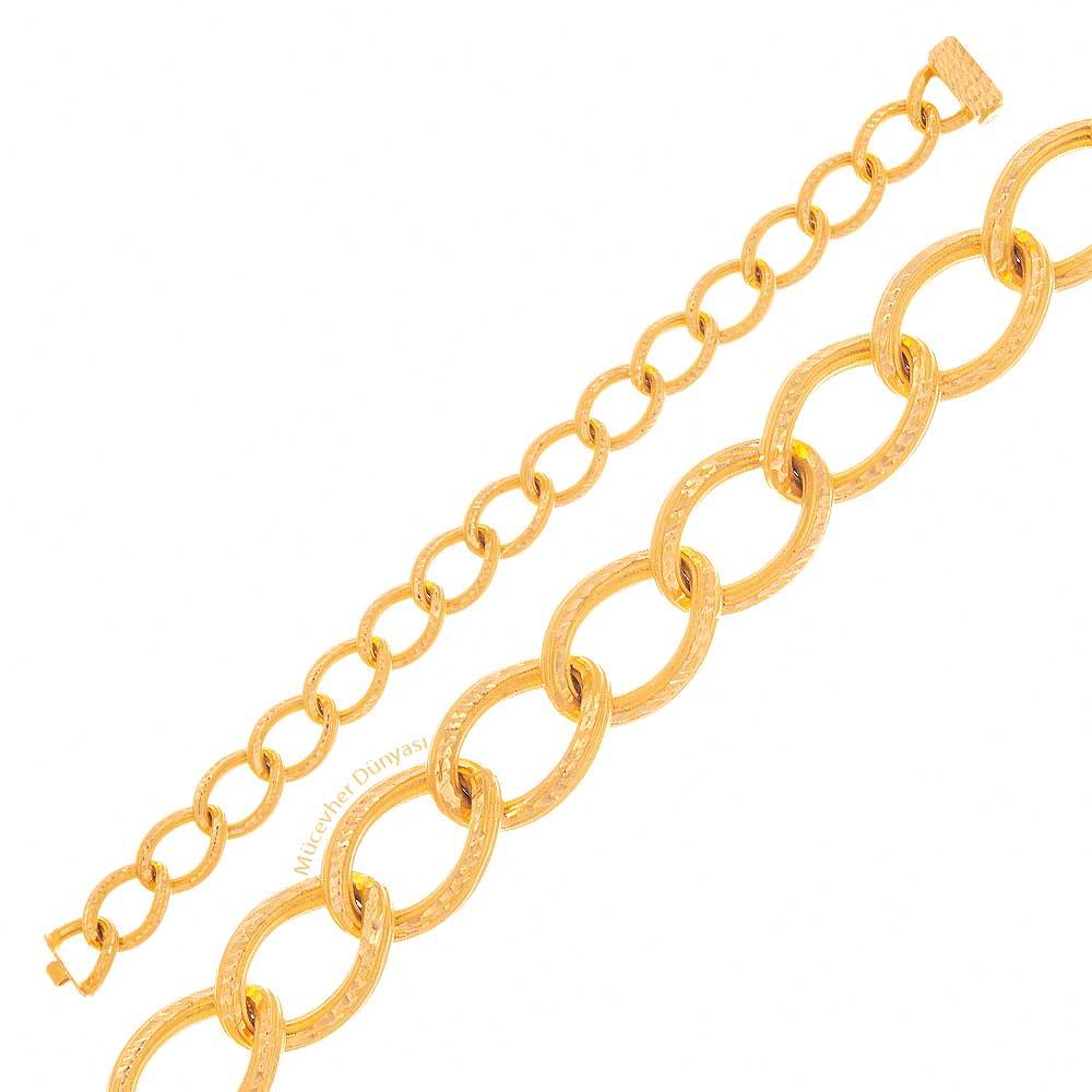 Mücevher Dünyası - 22 Ayar Özel Tasarım Zincir Altın Bileklik - 11.97 Gr.