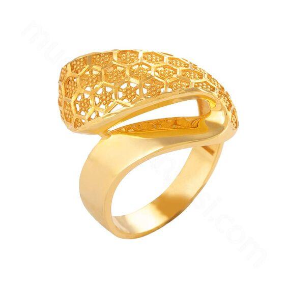 Mücevher Dünyası - 22 Ayar Petek Desenli Altın Fantezi Yüzük - 6,35 Gr.