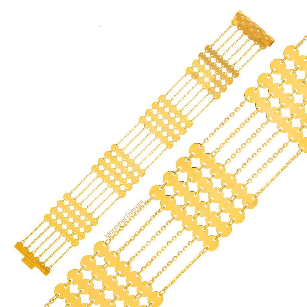 Mücevher Dünyası - 22 Ayar Pullu Akıtma Altın Bileklik - 20,79 Gr.