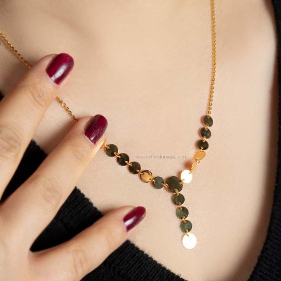 Mücevher Dünyası - 22 Ayar Pullu Altın Kolye - 4,77 Gr.