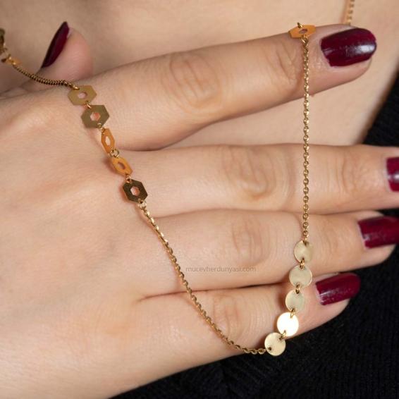 Mücevher Dünyası - 22 Ayar Pullu Altın Kolye - 6,86 Gr.