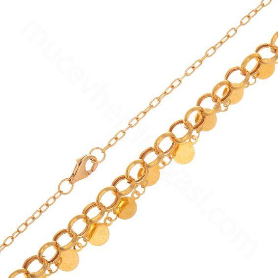 Mücevher Dünyası - 22 Ayar Pullu Altın Zincir - 47 Cm - 9,23 Gr.