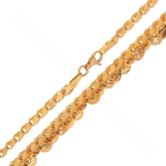 Mücevher Dünyası - 22 Ayar Pullu Altın Zincir - 5 Mm - 48 Cm - 17,17 Gr.