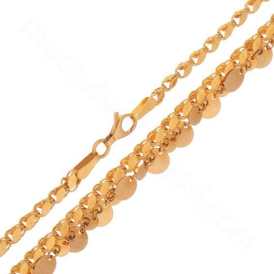 Mücevher Dünyası - 22 Ayar Pullu Altın Zincir 50 Cm - 16,34 Gr.