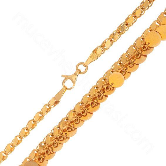 Mücevher Dünyası - 22 Ayar Pullu Altın Zincir 50 Cm - 18,00 Gr.
