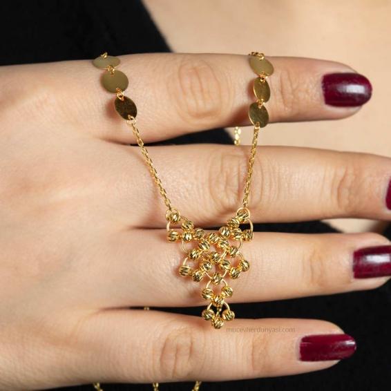 Mücevher Dünyası - 22 Ayar Pullu Dorika Altın Kolye - 7,85 Gr.