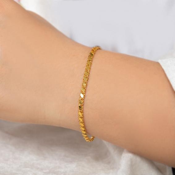 Mücevher Dünyası - 22 Ayar Pullu Halep Altın Bileklik - 18 Cm. - 3,42 Gr. - 3 Mm.