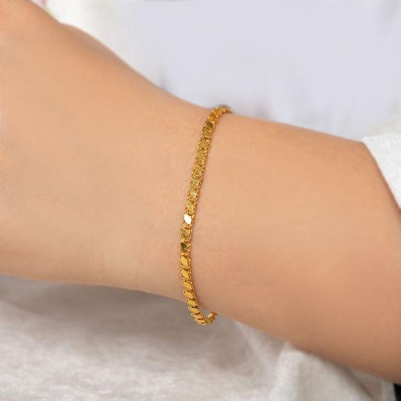 Mücevher Dünyası - 22 Ayar Pullu Halep Altın Bileklik - 3,29 Gr. - 17,4 Cm. - 3 Mm.