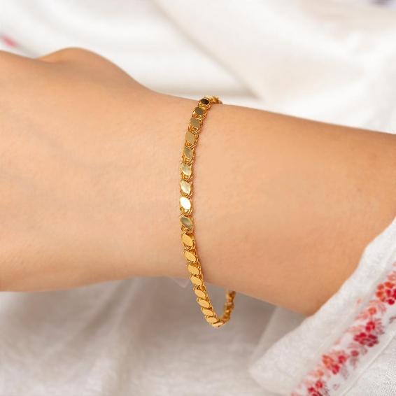 Mücevher Dünyası - 22 Ayar Pullu Halep Altın Bileklik - 3,85 Gr. - 17,7 Cm. - 3,7 Mm.