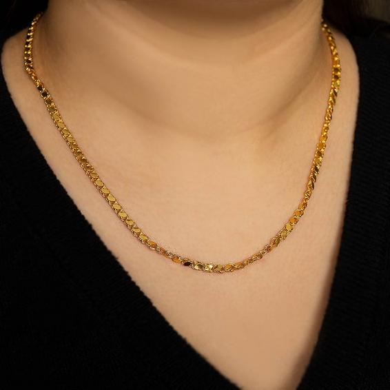 Mücevher Dünyası - 22 Ayar Pullu Halep Altın Zincir - 45 Cm. - 7,76 Gr. - 3 Mm.