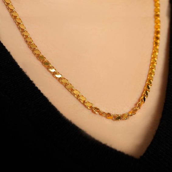 Mücevher Dünyası - 22 Ayar Pullu Halep Altın Zincir - 55 Cm. - 11,98 Gr. - 3 Mm.
