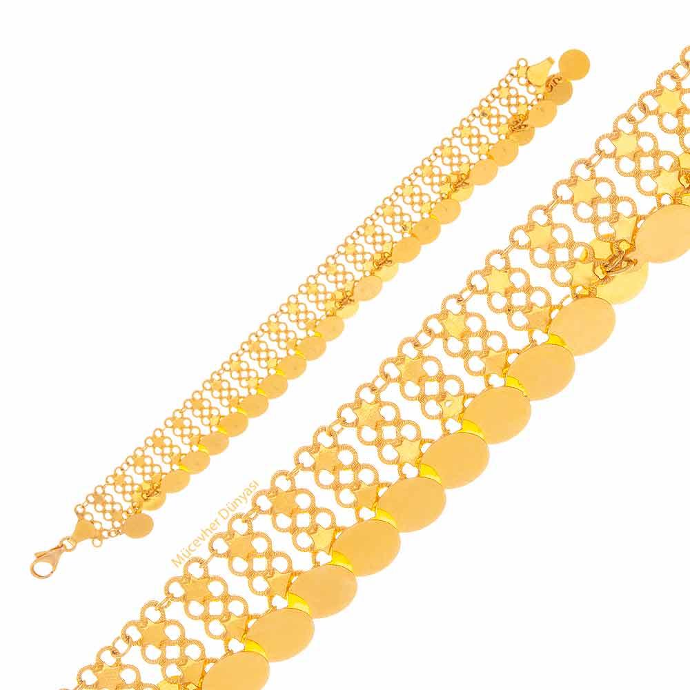 Mücevher Dünyası - 22 Ayar Pullu Özel Tasarım Altın Bileklik - 12,76 Gr.