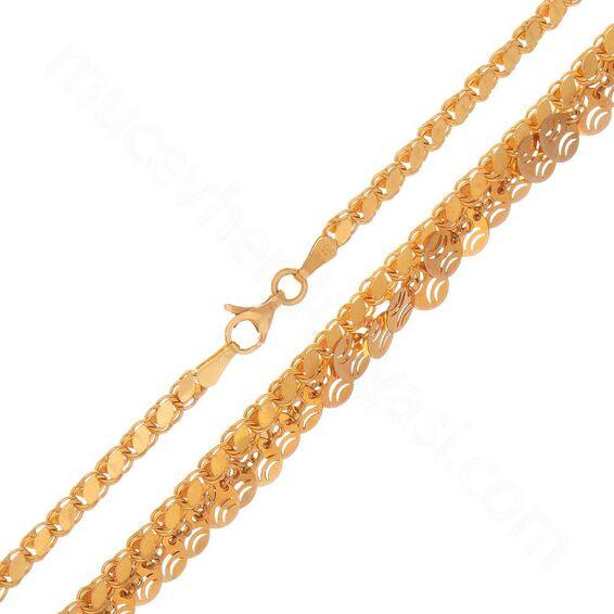 Mücevher Dünyası - 22 Ayar Pullu Tasarım Altın Zincir 50 Cm - 16,70 Gr.