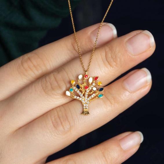 Mücevher Dünyası - 22 Ayar Renkli Taşlı Ağaç Altın Kolye - 3,89 Gr.