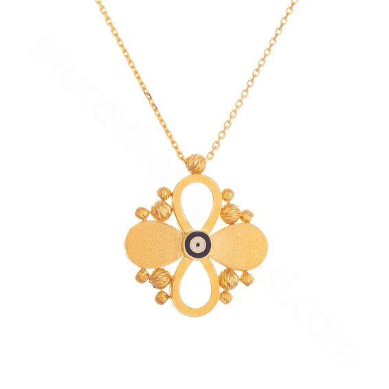 Mücevher Dünyası - 22 Ayar Nazar Boncuklu Çiçek Dorika Toplu Altın Kolye - 4,83 Gr.